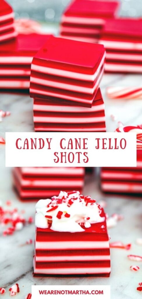 These Candy Cane Jello Shots will be the hit of any holiday party. The layered jello shot look is always impressive! | wearenotmartha.com #jelloshots #candycanes #peppermint #jello #christmasparty #holidayparty