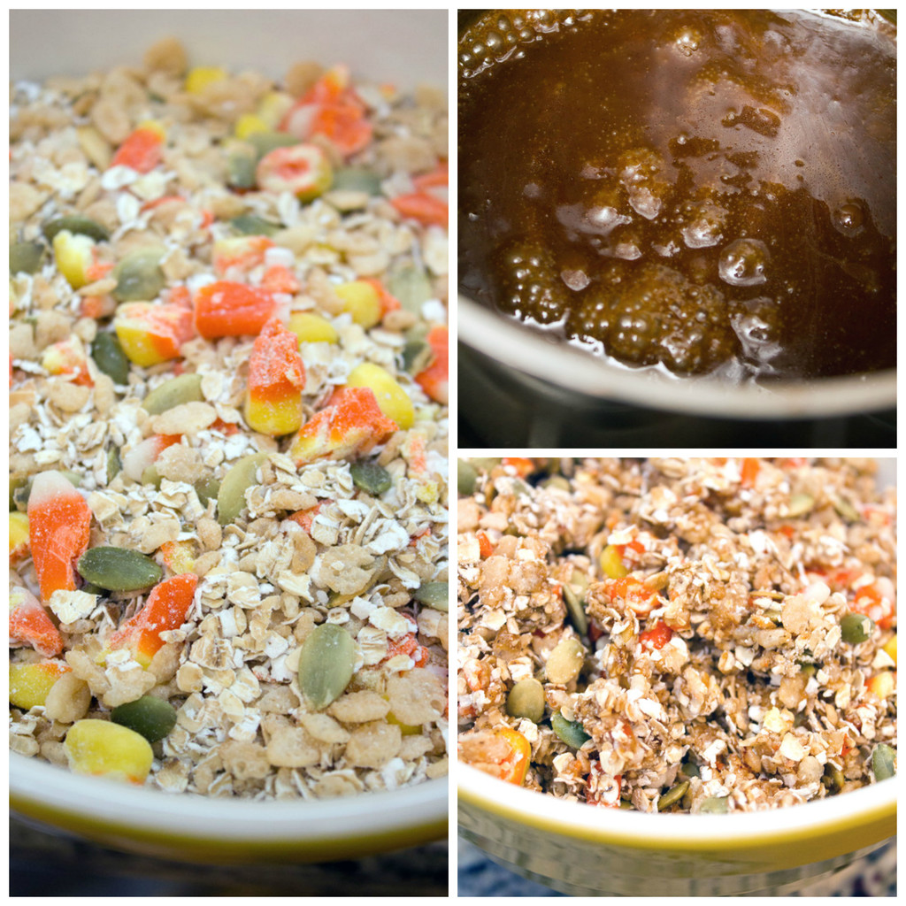 Collage showing process for making candy corn granola bars, including candy corn mixed with oats, pumpkin seeds, and Rice Krispies in big bowl; butter, sugar, honey, and cinnamon being boiled in a saucepan; and sauce poured over dry ingredients in bowl
