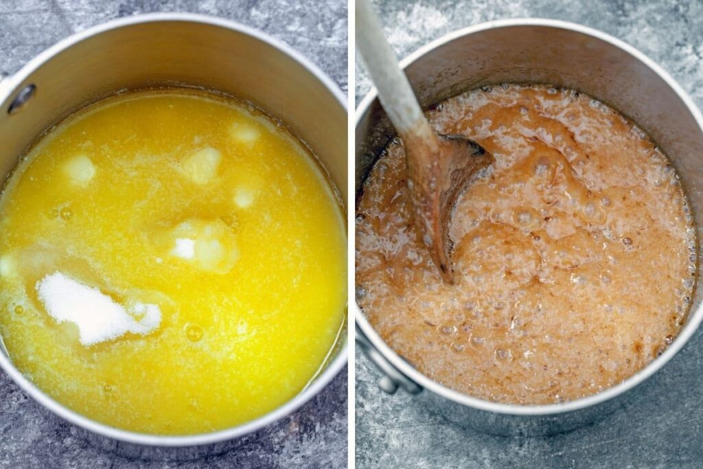 Collate showing butter and sugar in saucepan and butter and sugar turning into toffee in saucepan