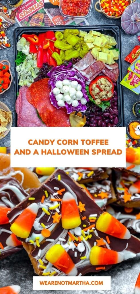 Candy Corn Toffee -- Candy corn fans, rejoice! This Candy Corn Toffee takes the much contested Halloween candy and turns it into a traditional favorite -- toffee! Include it in your Halloween treat spread for all your candy corn loving friends | wearenotmartha.com #candycorn #candycornrecipes #toffee #toffeerecipes #halloweenrecipes