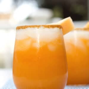 Cantaloupe Lime Margaritas -- These Cantaloupe Lime Margaritas take an often underrated fruit and blend it with tequila and lime juice for the perfect summer cocktail! | wearenotmartha.com
