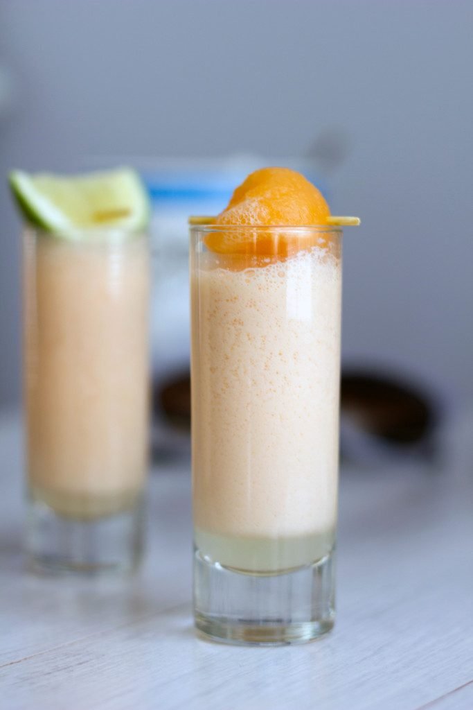 Cantaloupe Boozy Smoothie Shooters -- Packed with fresh fruit and a little vodka kick! | wearenotmartha.com