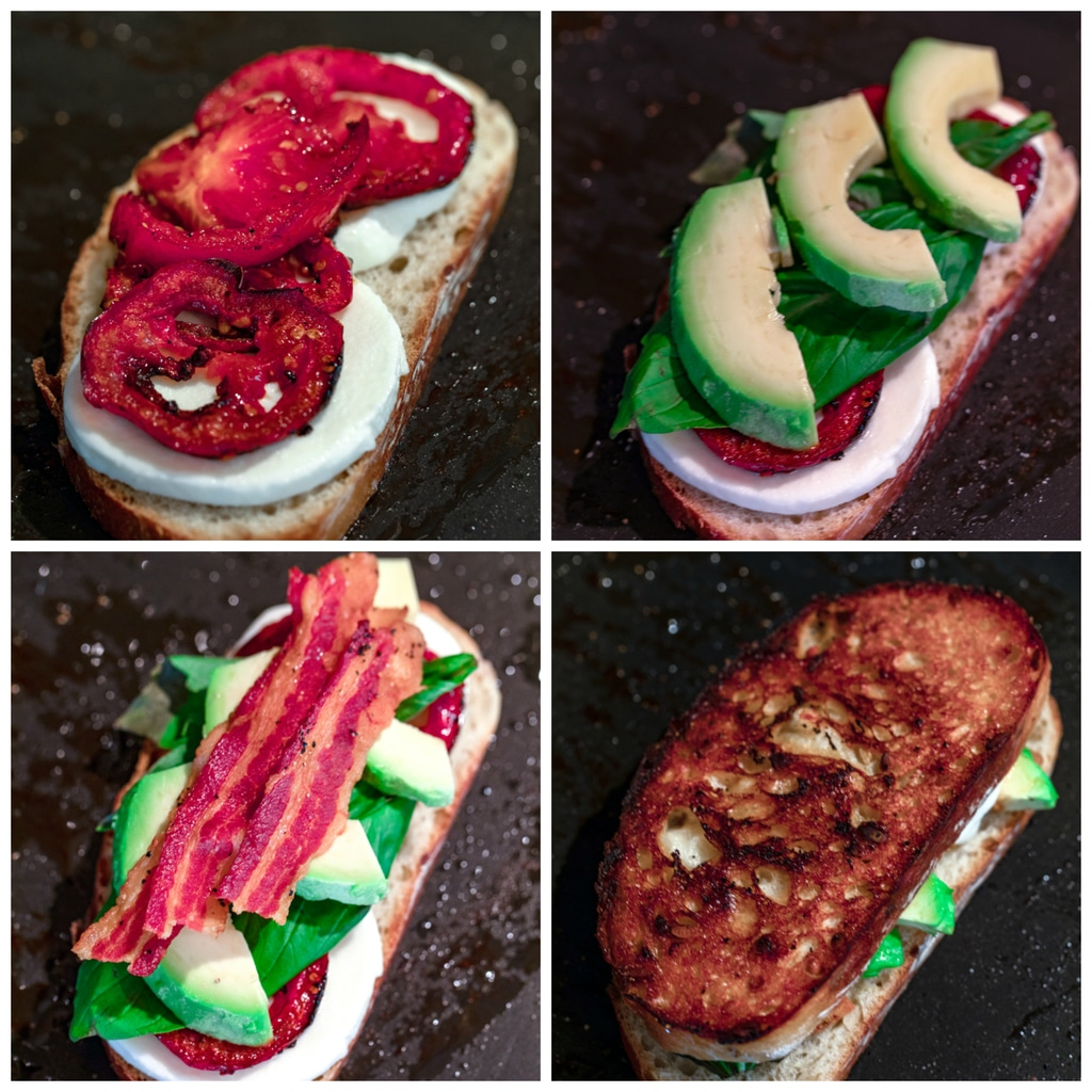 Collage showing process for assembling caprese grilled cheese sandwich including bread with mozzarella and tomato, bread with basil and avocado added on, bread with bacon added on, and full sandwich formed on griddle