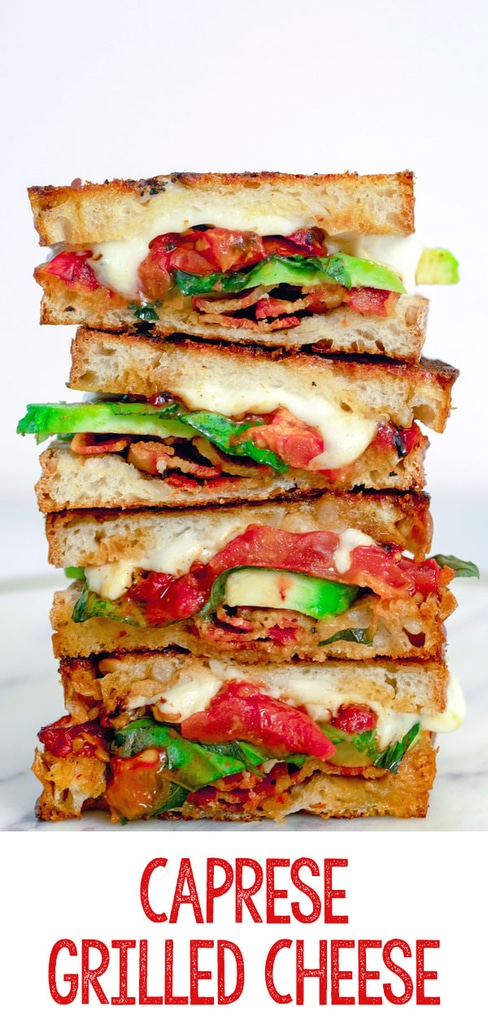 Caprese Grilled Cheese with Avocado and Bacon -- Take the caprese sandwich to new levels with this Caprese Grilled Cheese Sandwich with roasted tomatoes, basil, mozzarella, avocado, and bacon | wearenotmartha.com #caprese #grilledcheese #sandwiches #lunch