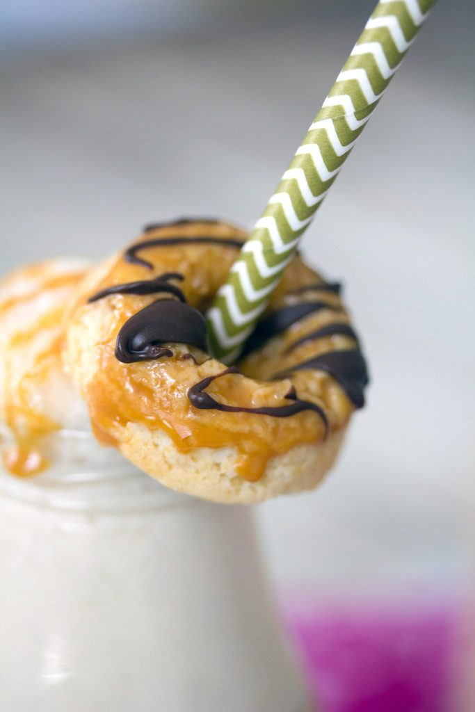 Caramel Coffee and Doughnuts Milkshake -- Way better than your average coffee milkshake! | wearenotmartha.com