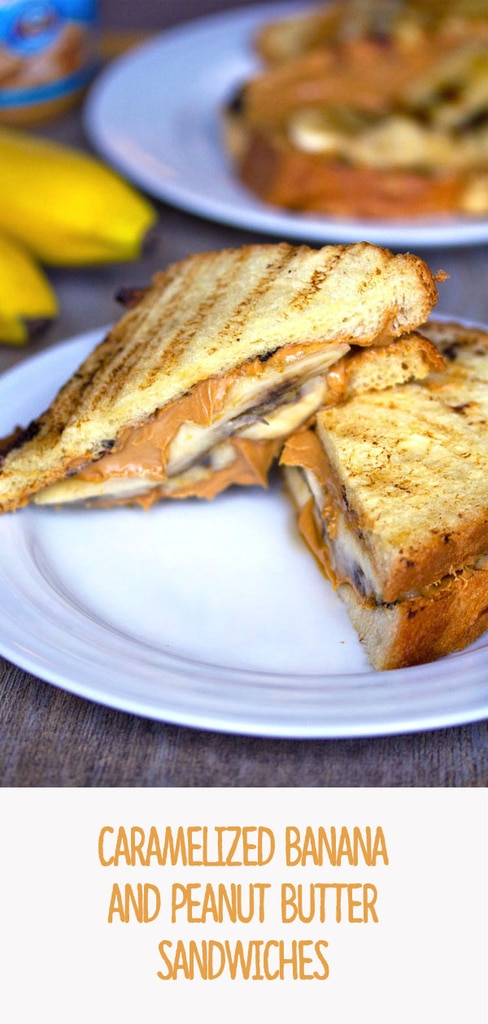 Caramelized Banana and Peanut Butter Sandwiches -- You can never go wrong with a peanut butter sandwich, but lunchtime will be a whole lot more delicious with Caramelized Banana and Peanut Butter Sandwiches instead | wearenotmartha.com #peanutbutter #bananas #sandwiches #caramelilzed