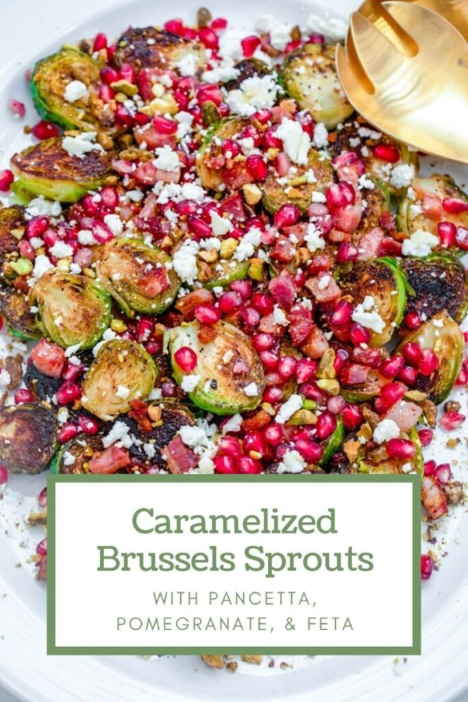 Looking for the best Thanksgiving or Christmas side dish? These caramelized brussels sprouts with pancetta, pomegranate, and feta are festive and delicious! | wearenotmartha.com