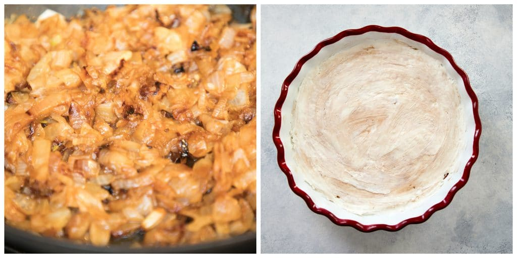 Collage showing process for making caramelized onion dip, including onions caramelizing in pan and goat cheese and cream cheese spread in pie dish