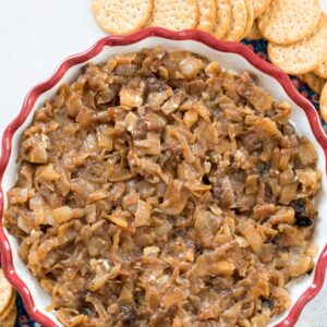 Caramelized Onion Goat Cheese Dip -- an incredibly tasty and super easy party dip that your guests will love! Make it once and you'll be stuck bringing it to parties for the rest of your life   wearenotmartha.com