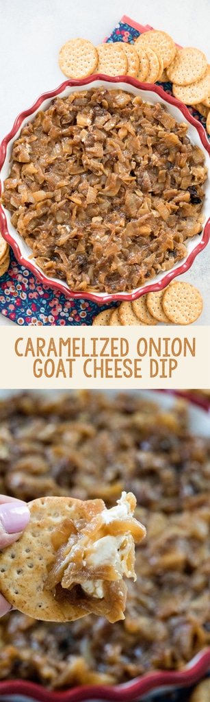 Caramelized Onion Goat Cheese Dip -- an incredibly tasty and super easy party dip that your guests will love! Make it once and you'll be stuck bringing it to parties for the rest of your life | wearenotmartha.com #dip #party #goatcheese #caramelizedonions