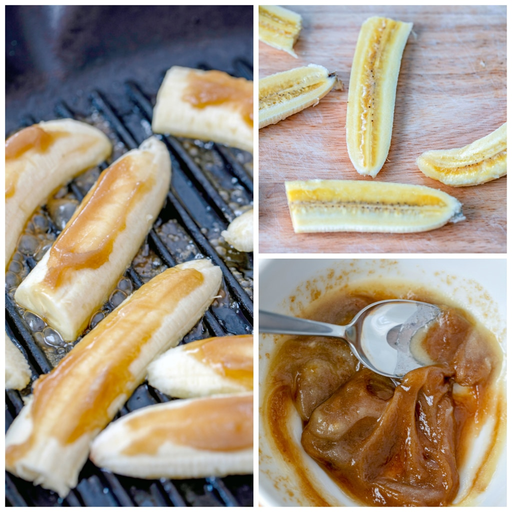 Collage showing process for making caramelized banana and peanut butter sandwich, including bananas sliced lengthwise, bowl of melted butter and brown sugar, and butter/sugar mixture slathered on bananas on grill pan