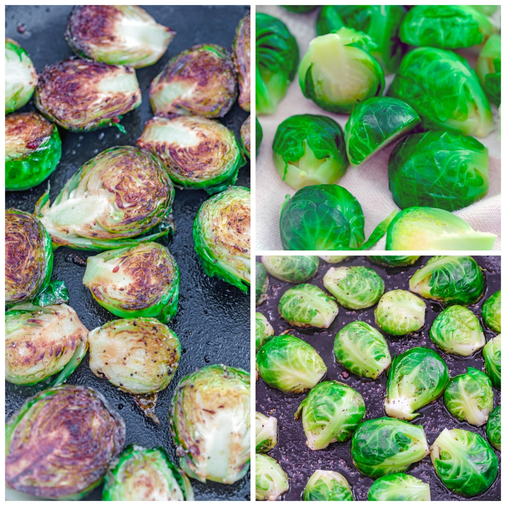 Collage showing how to caramelize brussels sprouts, including blanched brussels sprouts cut in half, brussels sprouts cut-side down in oil in skillet, and brussels sprouts caramelized cut-side up in skillet