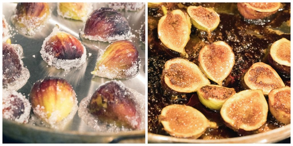 Collage showing process for making caramelized figs, including halved sugar covered fresh figs in a saucepan and figs in saucepan caramelizing in their juices