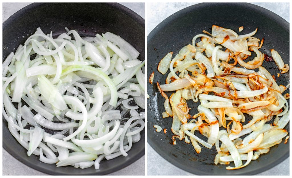 One photo showing sliced onions in a skillet and another photo showing sliced onions caramelizing in skillet