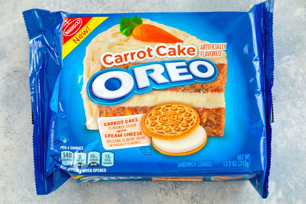 Overhead view of package of Carrot Cake Oreo cookies