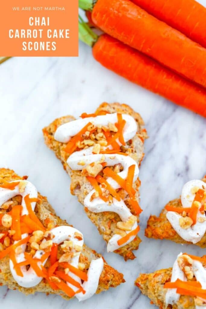 Chai Carrot Cake Scones -- These Chai Carrot Cake Scones with cream cheese frosting combine everything you love about carrot cake into a perfectly spiced treat that's delicious for dessert or breakfast!   wearenotmartha.com #carrotcake #scones #chai