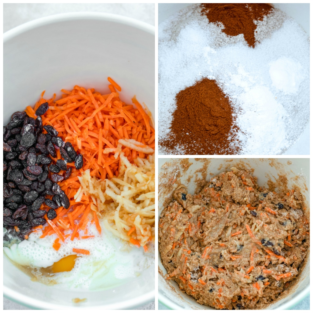 Collage showing process for making carrot raisin muffins, including dry ingredients mixed in a bowl; wet ingredients like eggs, buttermilk, shredded carrots, shredded apple, and raisins in a bowl; and batter all mixed together in a bowl