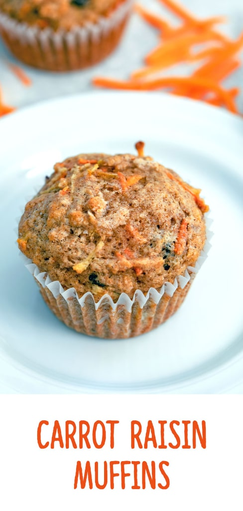 Carrot Raisin Muffins -- These Carrot Raisin Muffins make the perfect grab-and-go breakfast that is both healthy and delicious! | wearenotmartha.com #muffins #carrots #healthymuffins #breakfast