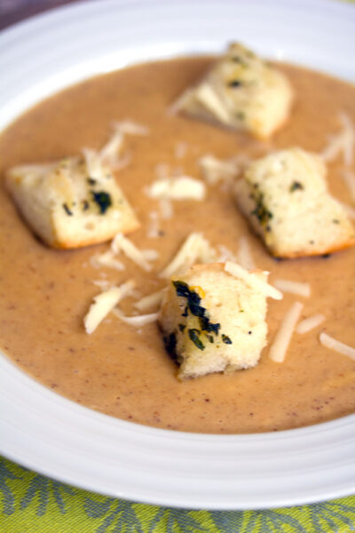 Cauliflower Horseradish Cheddar Soup with Lemon Basil Croutons