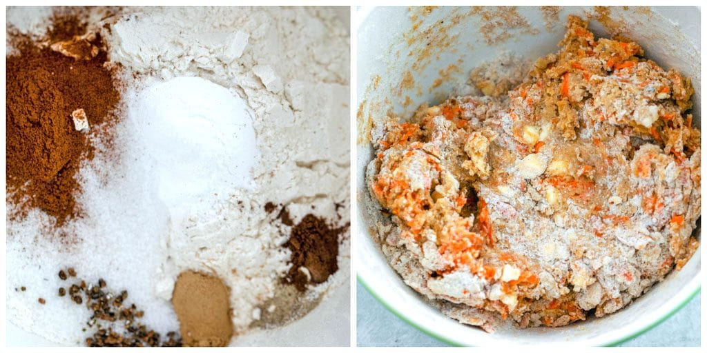 Collage showing process for making chai carrot cake scones dough, including chai spices mixed with flour and sugar in a bowl and dough all mixed together with butter and carrots