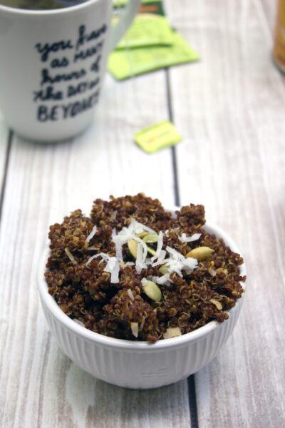 Chai Tea Pumpkin Breakfast Quinoa -- Keep warm in the morning with this spiced oatmeal alternative   wearenotmartha.com