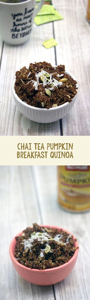 Chai Tea Pumpkin Breakfast Quinoa -- Keep warm in the morning with this spiced oatmeal alternative | wearenotmartha.com