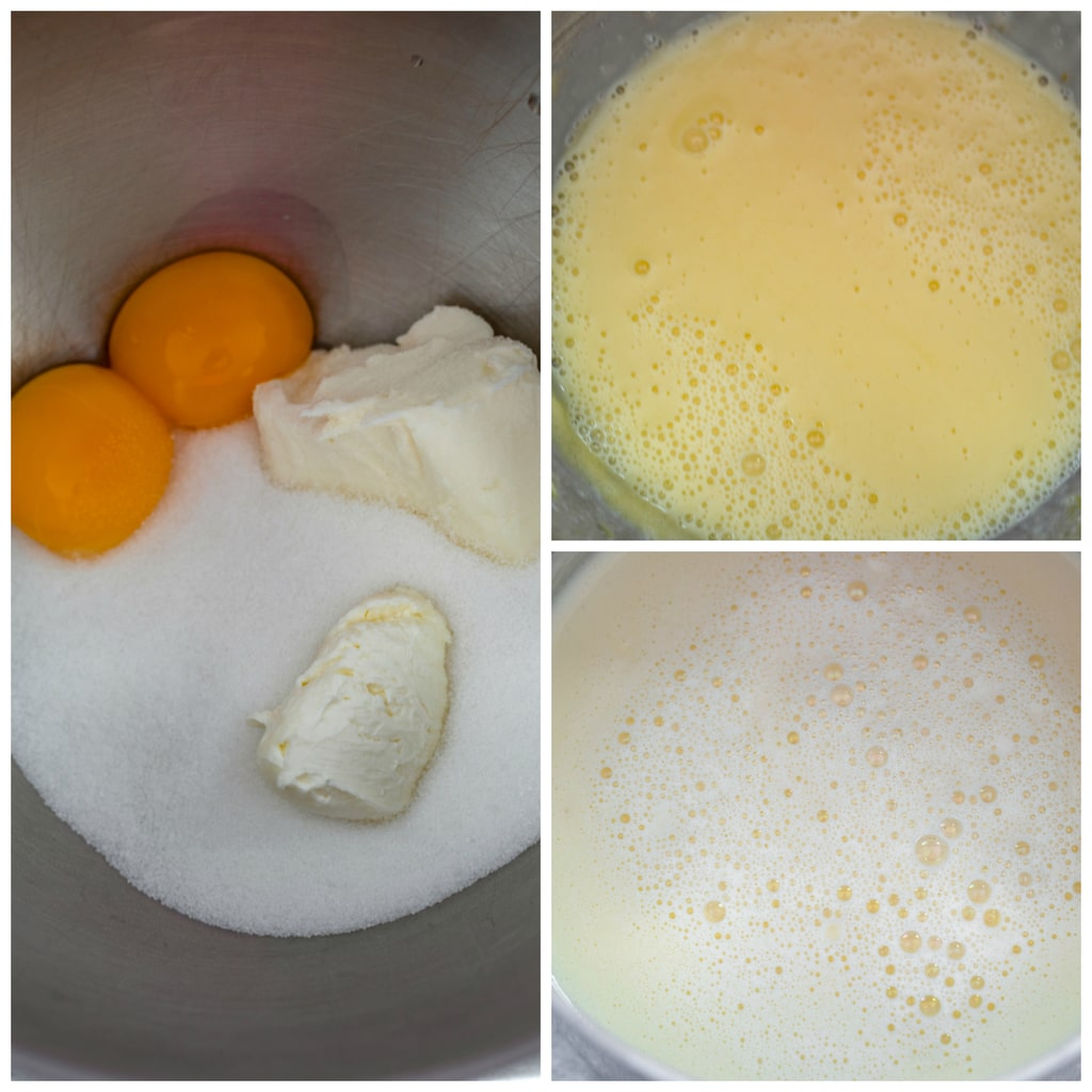 Collage showing process for making  ice cream base, including egg yolks, cream cheese, and sugar in bowl; eggs and milk tempered; and ice cream base in bowl