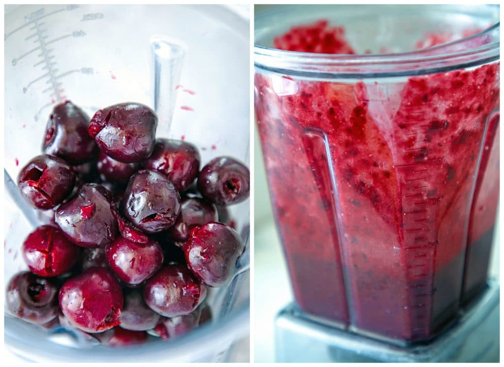 Collage showing process for making cherry rum puree for cherry coke and rum, including blender filled with pitted cherries and blender full of cherry puree