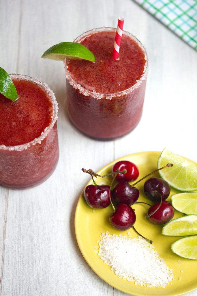Cherry Lime Margarita -- The perfect frosty summer cocktail! | wearenotmartha.com