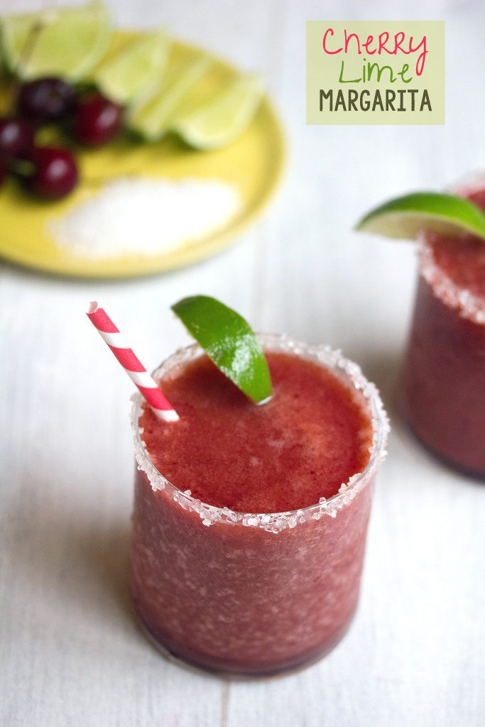 Cherry Lime Margarita -- The perfect frosty summer cocktail! | wearenotmartha.com
