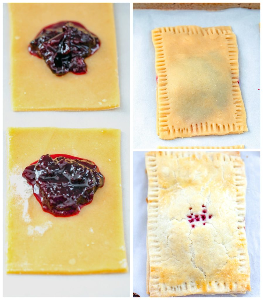 Collage showing process for assembling cherry lime pop tarts, including dough cut into rectangles with cherry lime jam on it, pop tart formed with crimped edges, and pop tart baked and just out of the oven