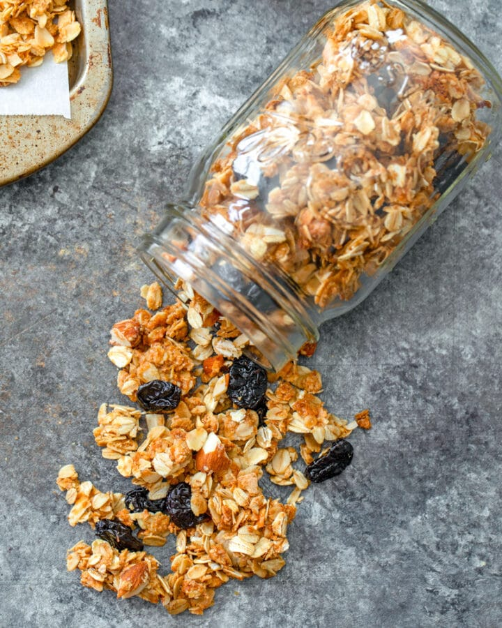 Cherry Vanilla Granola -- There's not much better than homemade granola and this Cherry Vanilla Granola is both easy to make and absolutely delicious on yogurt, ice cream, or all on its own! | wearenotmartha.com #granola #homemade #foodgifts #cherries #cereal
