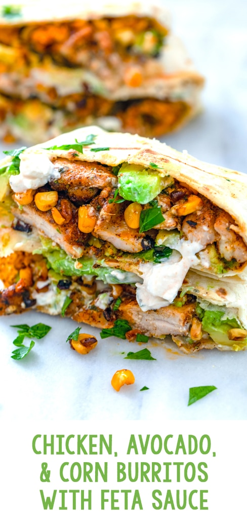 Chicken, Avocado, and Corn Burritos with Feta Sauce -- These Chicken, Avocado, and Corn Burritos are topped with feta sauce and make for a fresh and flavorful weeknight dinner that's incredibly quick and easy! | wearenotmartha.com #burritos #avocado #feta #corn