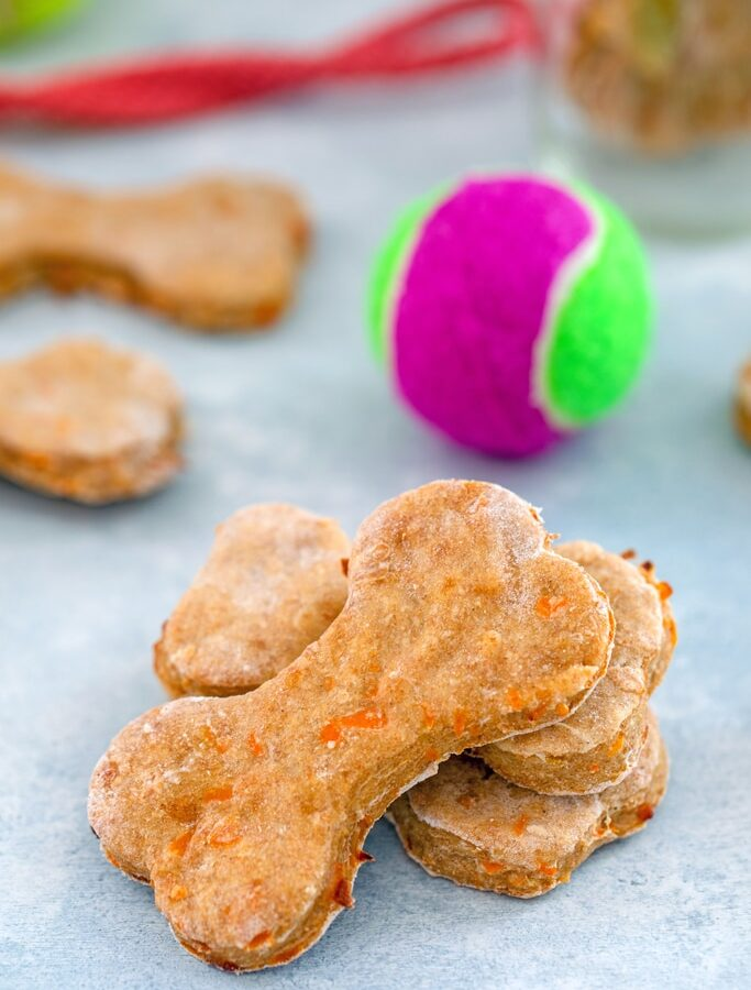 Chicken Dog Treats -- Want to make your pup homemade dog treats with fresh ingredients? These Chicken Dog Treats are easy to make with whole ingredients. Your dog will love them! | wearenotmartha.com