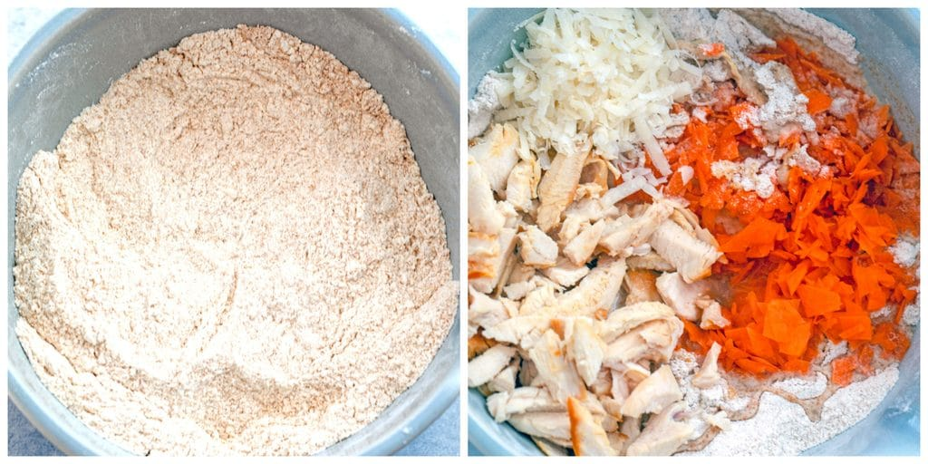 Collage showing process for making chicken dog treats, including a bowl with flours and evaporated milk and a bowl with chicken, parmesan cheese, carrots, and egg with flour