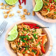 Making Thai food at home is super simple with this easy Chicken Pad Thai recipe. Ready in just 30 minutes, you'll start craving Thai food every night of the week!