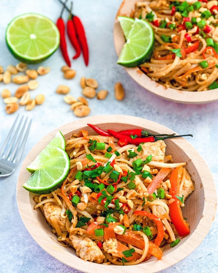 Chicken Pad Thai -- Making Thai food at home is super simple with this easy Chicken Pad Thai recipe. Ready in just 30 minutes, you'll start craving Thai food every night of the week!   wearenotmartha.com