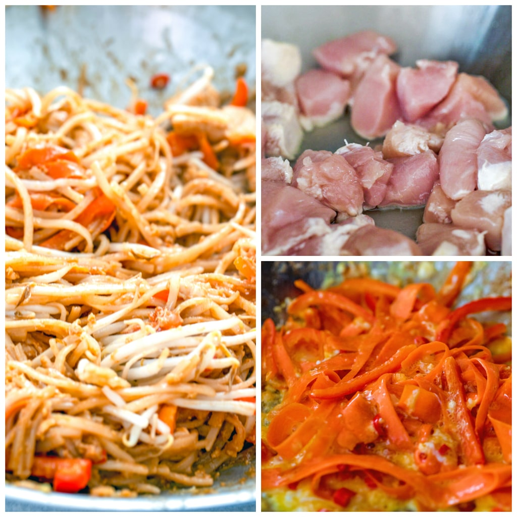 Collage showing cooking process, including chicken cooking in a wok, carrots and peppers cooking in the wok, and noodles and bean sprouts cooking with the vegetables in the wok
