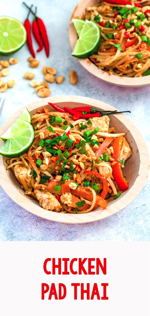 Chicken Pad Thai -- Making Thai food at home is super simple with this easy Chicken Pad Thai recipe. Ready in just 30 minutes, you'll start craving Thai food every night of the week! | wearenotmartha.com #padthai #thaifood #chicken #easyrecipes