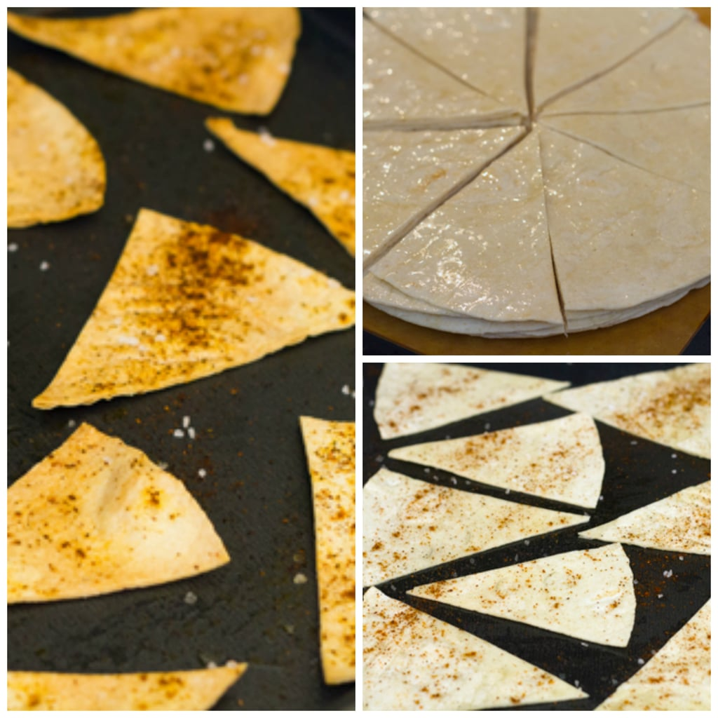 Collage showing process for making chile dusted tortilla chips, including olive oil brushed tortillas cut into triangles, tortilla triangles on baking sheet dusted with chile powder and tortilla chips just out of the oven