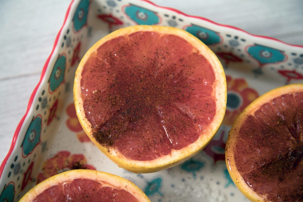 Chili Honey Roasted Grapefruit -- Grapefruit makes the perfect breakfast, dessert, or anytime snack... Especially when it's sprinkled with chili pepper for a kick, and drizzled with honey for some sweetness | wearenotmartha.com