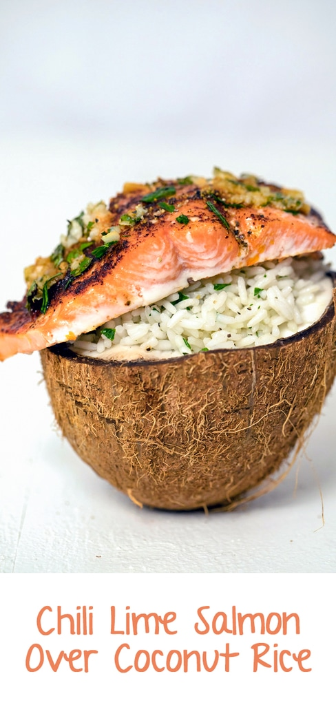 Chili Lime Salmon Over Coconut Rice -- This Chili Lime Salmon Over Coconut Rice is a super simple weeknight dinner that's easy, healthy, and delicious. Serve it in a coconut half if you want to impress, but it's just as tasty on a plate!| wearenotmartha.com #salmon #chili #lime #coconut #rice