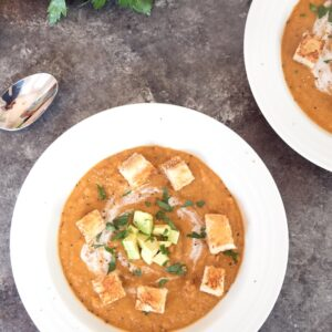 Chipotle Butternut Squash Soup with Grilled Cheese Croutons -- Chipotle Butternut Squash Soup is perfectly spicy, delightfully creamy, and fully satisfying. The grilled cheese croutons are a not totally necessary, but much welcomed garnish (hint: you should make them) | wearenotmartha.com