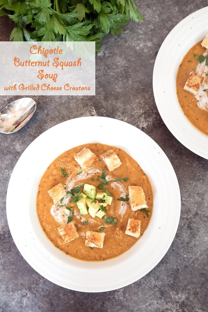 Chipotle Butternut Squash Soup -- A totally satisfying spicy fall soup, topped with grilled cheese croutons | wearenotmartha.com