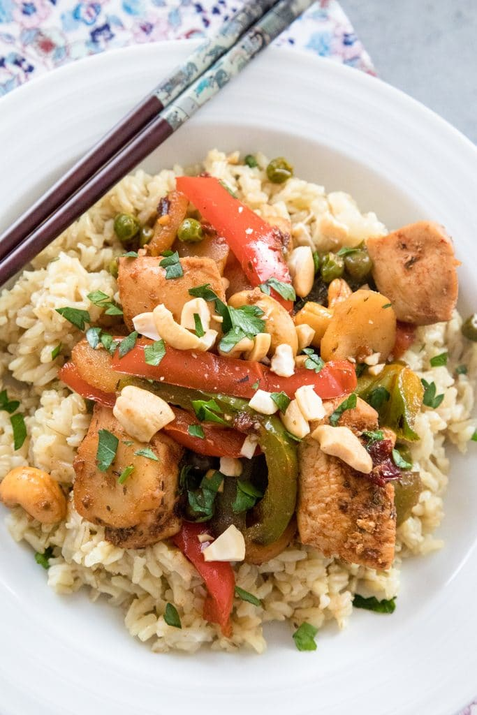 Chipotle Chicken with Cashews -- This dinner may have an extensive ingredient list, but it's incredibly quick and easy to make. It takes a traditional cashew chicken and gives it a fun twist with chipotle peppers and more | wearenotmartha.com