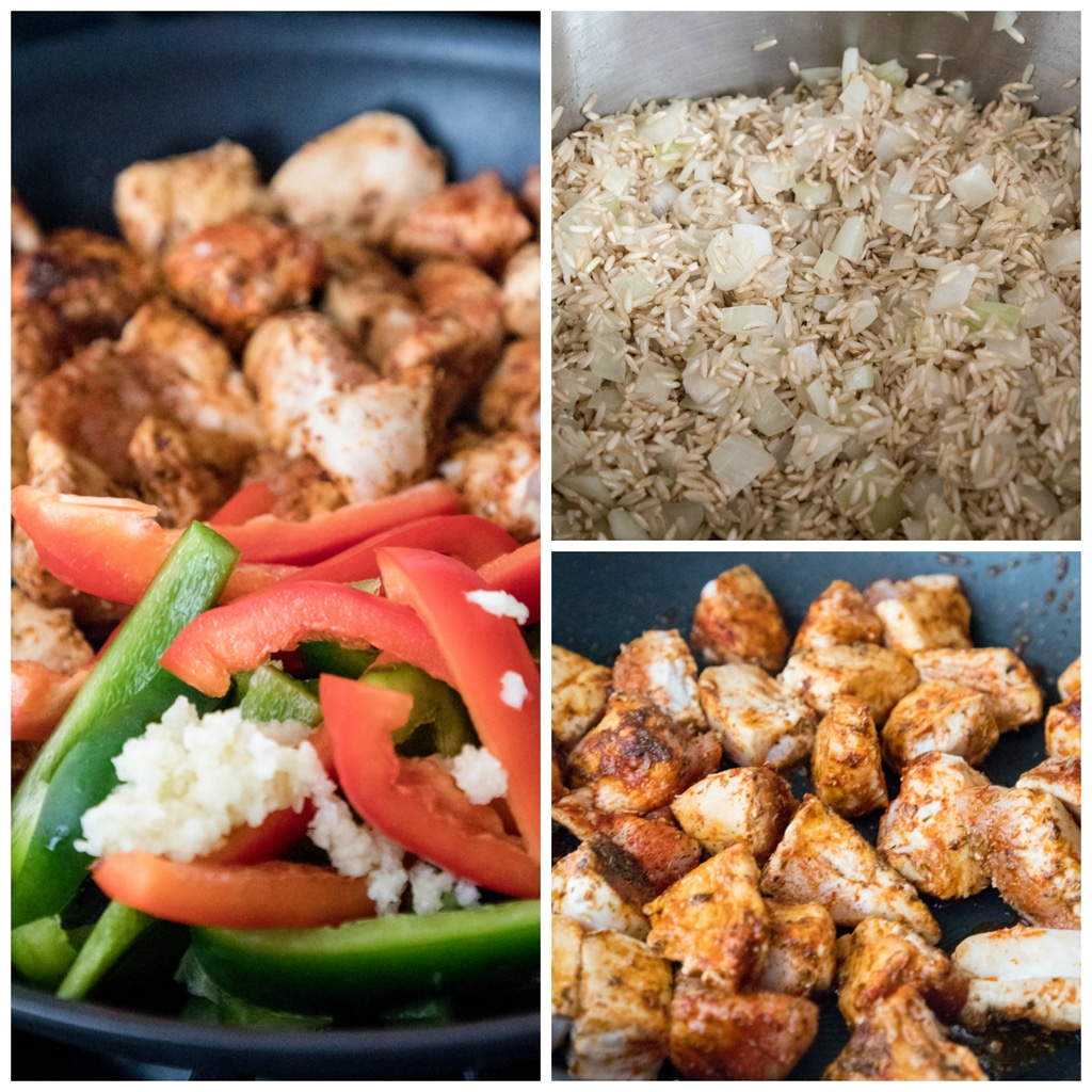Collage showing process for making chipotle chicken with cashews, including rice and onions cooking, chipotle chicken cooking in skillet, and chipotle chicken with peppers and garlic in skillet