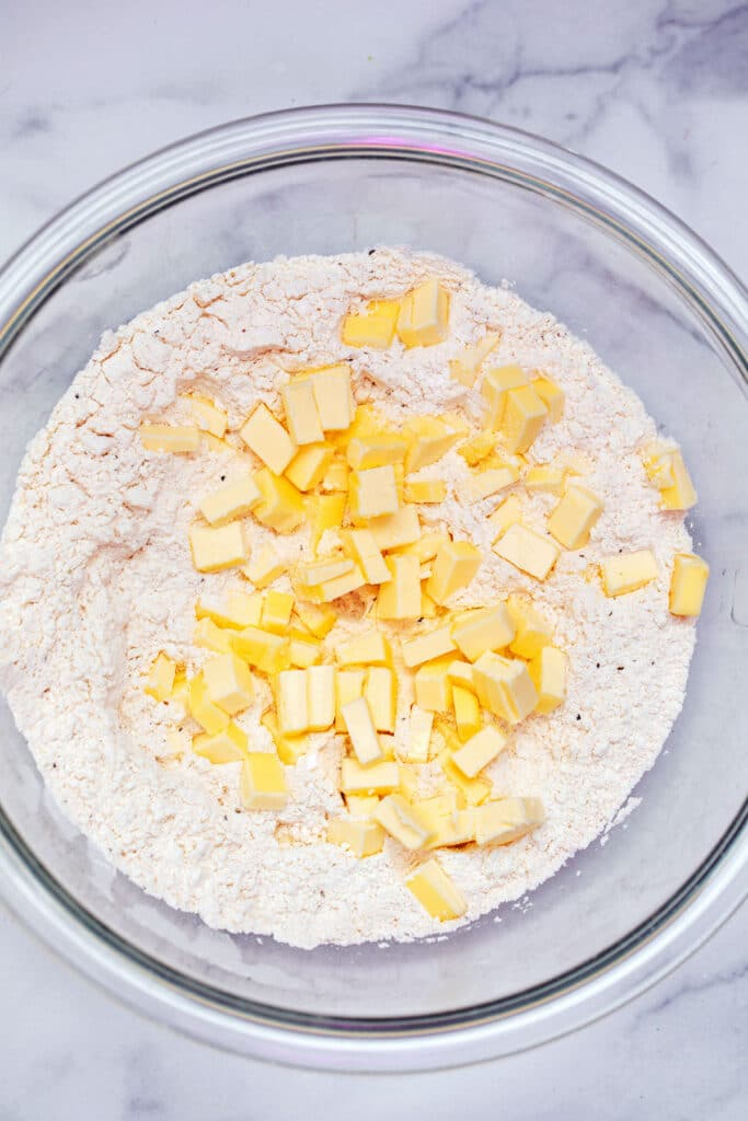 Flour mixture with chopped butter added in.
