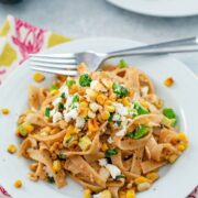 Chipotle Corn Fettuccine -- This pasta brings together the flavors of summer in a deliciously creamy and flavorful dish with a little bit of spice from the chipotle peppers | wearenotmartha.com