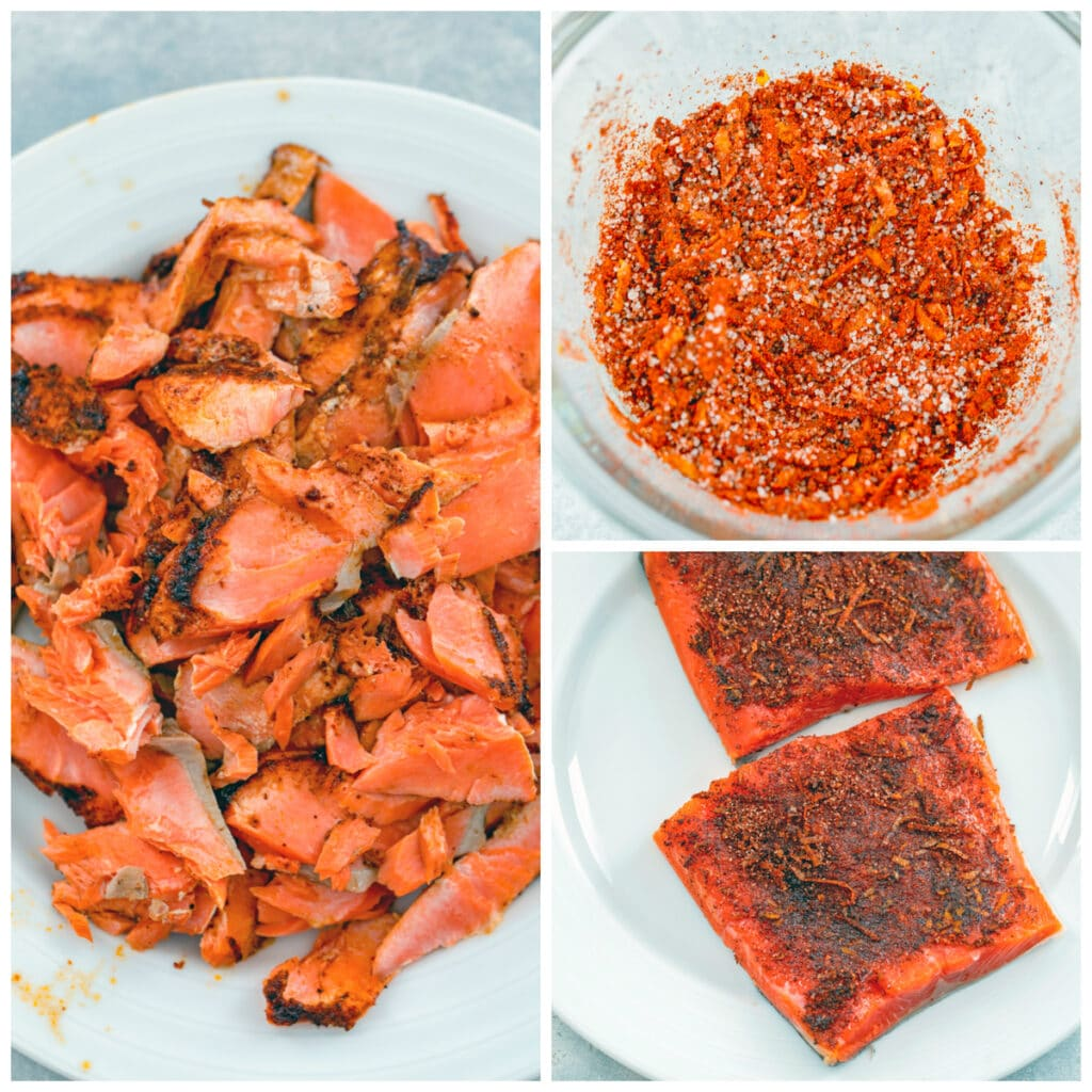 Collage showing process for making chipotle-rubbed grilled salmon, including chipotle rub in bowl, rub on salmon filets, and salmon grilled and flaked into pieces
