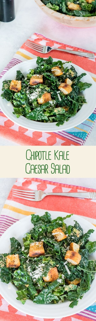 Chipotle Kale Caesar Salad -- This salad is packed with all the flavor of a Caesar salad, with a little extra nutrition from the kale and a nice spicy kick from chipotle peppers | wearenotmartha.com #caesar #salad #kale #chipotle #croutons